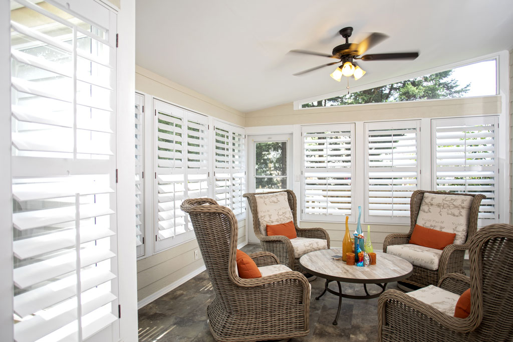 LouverWood Shutters in a Sunroom